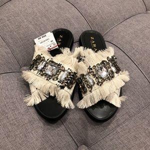 NWT Zara embellished sandals 36
